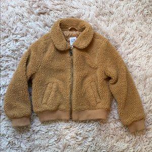 GAP girls xs tan brown neutral Sherpa jacket